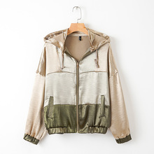New Jacket Women Color Matching  Autumn Jackets With hooded Lady sportswear Zipper