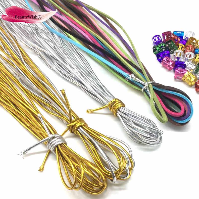 50 unidades de cuentas de Dreadlock caja mágica de trenzas accesorios para el cabello trenza 10 hebras trenzables cuerdas para el cabello