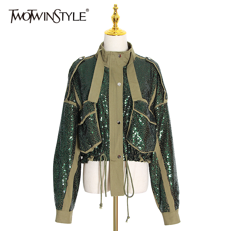 TWOTWINSTYLE Patchwork Sequin Jackets For Women Turtleneck Long Sleeve Drawstring Coats Female Autumn Fashion New Clothes 2020