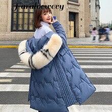 Long Women's Down Coat Women 2019 Winter Thick Hooded Zipper Coat Bread clothing