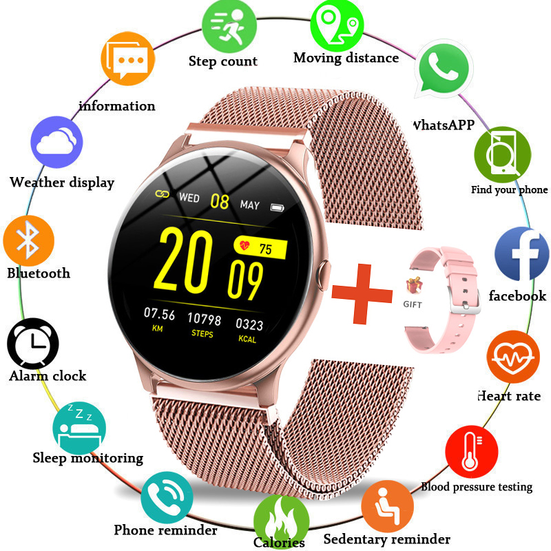 LIGE 2020 New Steel band Color Screen Smart Watch Women Men Waterproof Sport Fitness watch Heart rate and blood pressure tracker
