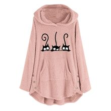 Plus Size Hoodies Womens Fleece Cat Embroidery Warm Hoodie Top Button Autumn Winter Size Long Sleeve Sweatshirts Hoody Ladies#Y7(China)