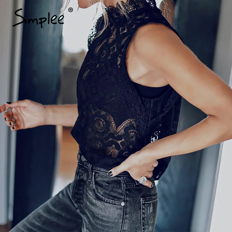 Simplee Sexy spitze perspektive plus größe bluse top frauen casual solide sleeveless aushöhlen hemd 2020 frauen Blusas Feminina