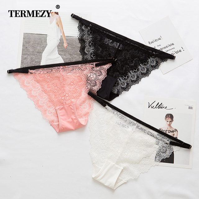 TERMEZY 3pcs Women Low-rise Panties For Women String Thongs Lace G-String Briefs Women Sexy Lace Underwear Solid Sexy Lingerie 2