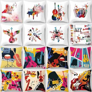 45x45cm Fashion Pillow Case Music Piano Violin Square Throw Pillow Case Cushion Cover Home Sofa Car Decor Pillow Cover Bedroom image