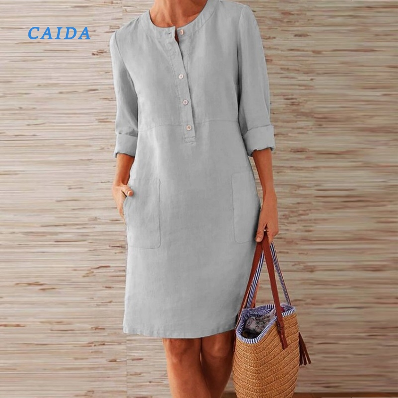 Linen Dress Button Long-Sleeve Fashion Women Solid O-Neck Pocket Spring Knee CAIDA