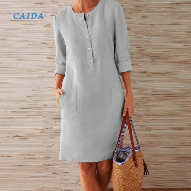 CAIDA Spring Cotton Linen Dress Fashion Button O-Neck Knee Party Dress Women Long Sleeve Pocket Solid Dresses 1