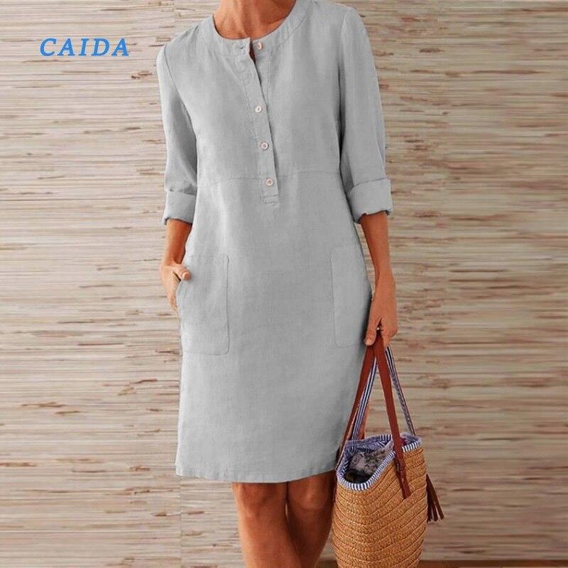 CAIDA весеннее хлопковое льняное платье, модные вечерние платья до колена с круглым вырезом и пуговицами, Женские однотонные платья с длинными рукавами и карманами|Платья|   | АлиЭкспресс