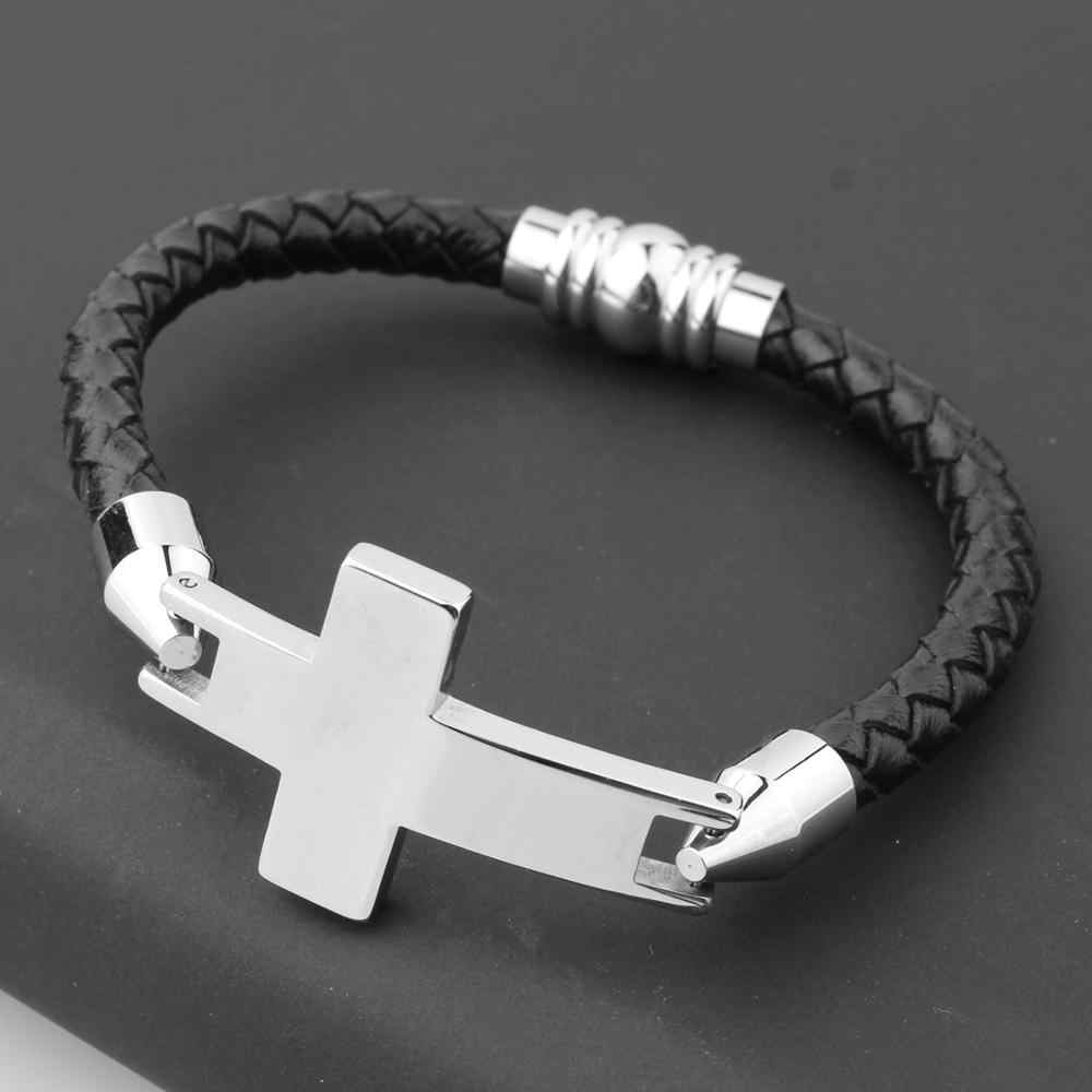 קלאסי צלב נירוסטה צמידים & צמידי גברים שרשרת 210mm צמיד עור צמידי תכשיטים מתנה עבור גברים