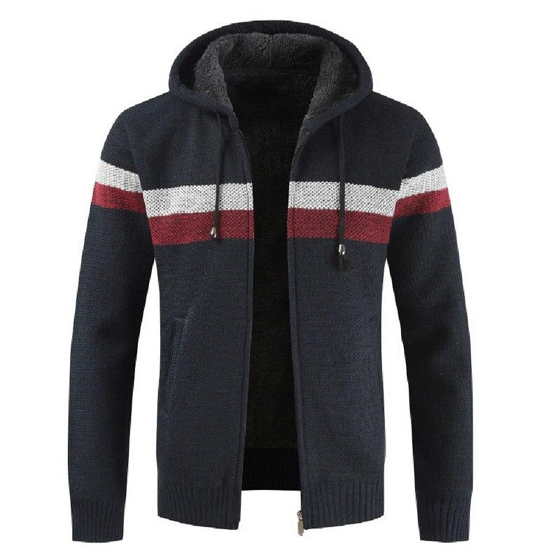 CYSINCOS 2019 Autumn Men Hooded Wool Cardigan Sweater Jumper Men Winter Fashion Striped Pockets Knit Outwear Coat Sweater Men