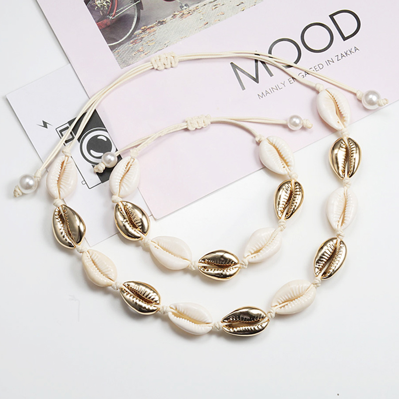 Shell Necklace&Bracelet Bohemia Nature Gold Seashell Cowrie Charm Necklaces For Women Choker Rope Chain Bracelets Summer Jewelry