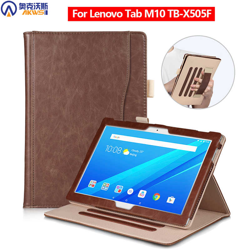 Cover Case Voor Lenovo M10 Tablet TB-X505F Leather Cover Voor Lenovo Tab 10.1 Case M10 Case Met Handstrap Pen
