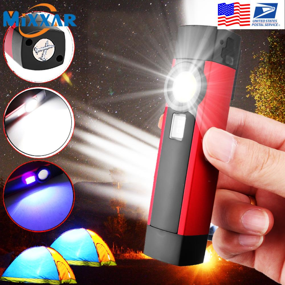ZK50 Dropshipping Multifunction COB/UV LED Flashlight USB Rechargeable Built-In Battery Pocket Working Light Waterproof Lamp