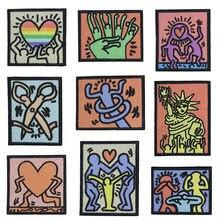 Нашивки для уличного искусства Keith Haring, нашивки с вышивкой без клея, персональный рисунок в западном стиле, Пришивные нашивки для одежды, рюк...