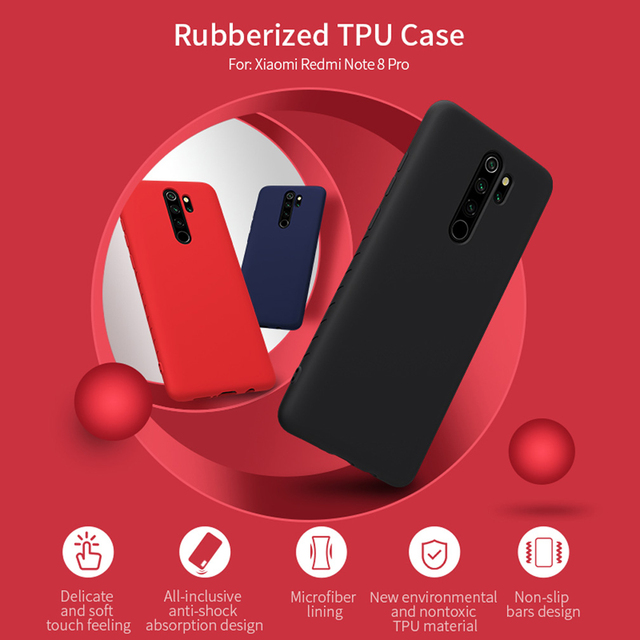 NILLKIN Redmi Note 8 Pro Rubber Wrapped TPU Protective Back Case Cover