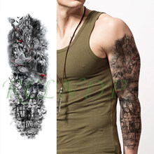 Waterproof Temporary Tattoo Sticker skull warrior leopard cross shield full arm big fake tatto flash tatoo for men women girl(China)