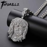 TOPGRILLZ Lil Pump Pendant Necklace With 10mm Cuban Chain Men Full Iced Out CZ Chains Hip Hop Silver Color Charms Jewelry