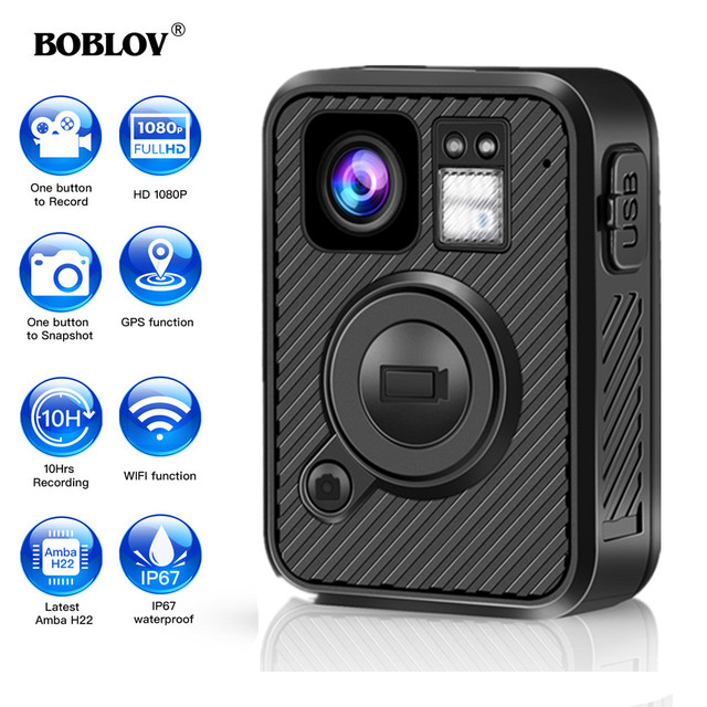 BOBLOV Wifi Police Camera F1 64GB Body Kamera 1440P Worn Cameras For Law Enforcement 10H Recording GPS Night Vision DVR Recorder