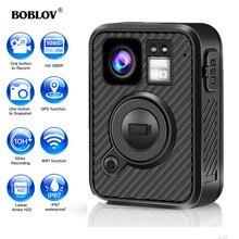 BOBLOV Wifi polis kamerası F1 64GB vücut Kamera 1440P yasa uygulama için yıpranmış kameralar 10H kayıt GPS gece görüş DVR kaydedici