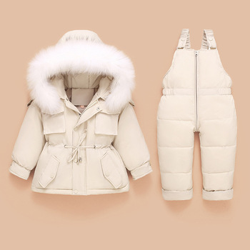 New baby down jacket suit baby kids down jacket winter thickening boys and girls two-piece suit
