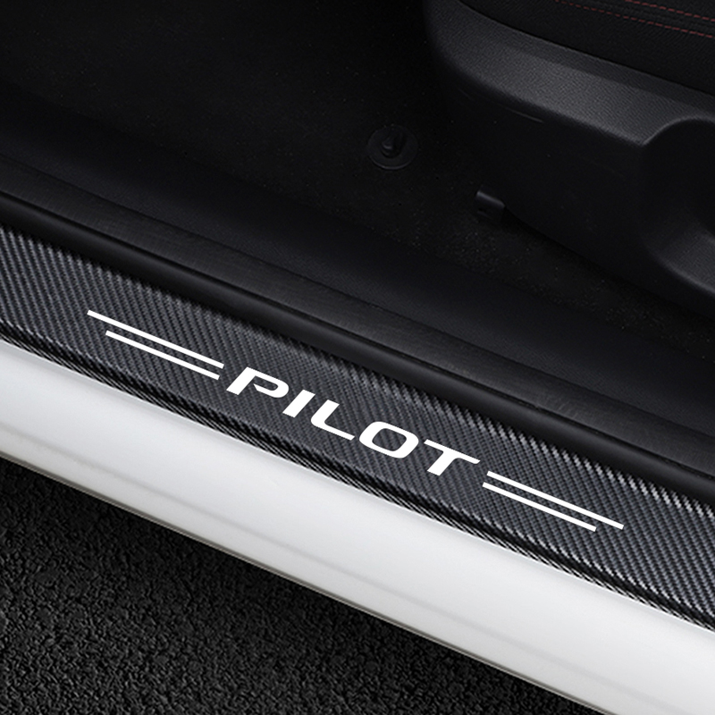 4PCS Anti Scratch Cover Car Door Sill Protective Sticker For Honda Pilot Auto Door Threshold Carbon Vinyl Decoration Accessories-in Car Stickers from Automobiles & Motorcycles
