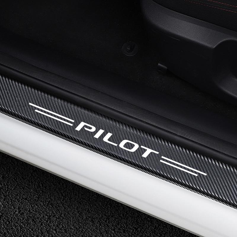 4PCS Anti-Scratch Cover Car Door Sill Protective Sticker For Honda Pilot Auto Door Threshold Carbon Vinyl Decoration Accessories