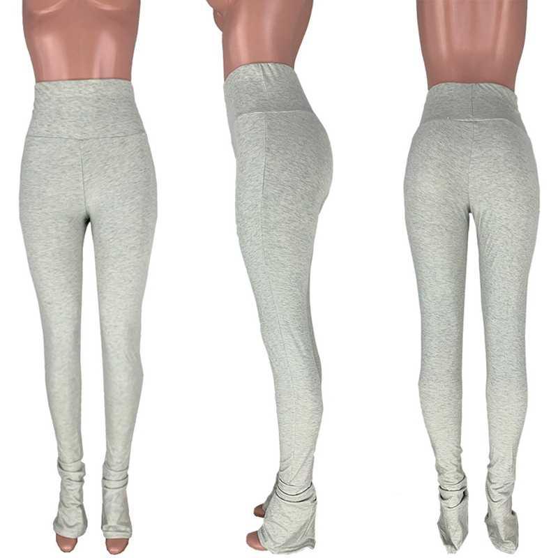 Leggings empilés pantalon avec fendu Joggers pantalons de survêtement femmes 2020 Streetwear froncé taille haute cloche bas Long Flare pantalon noir