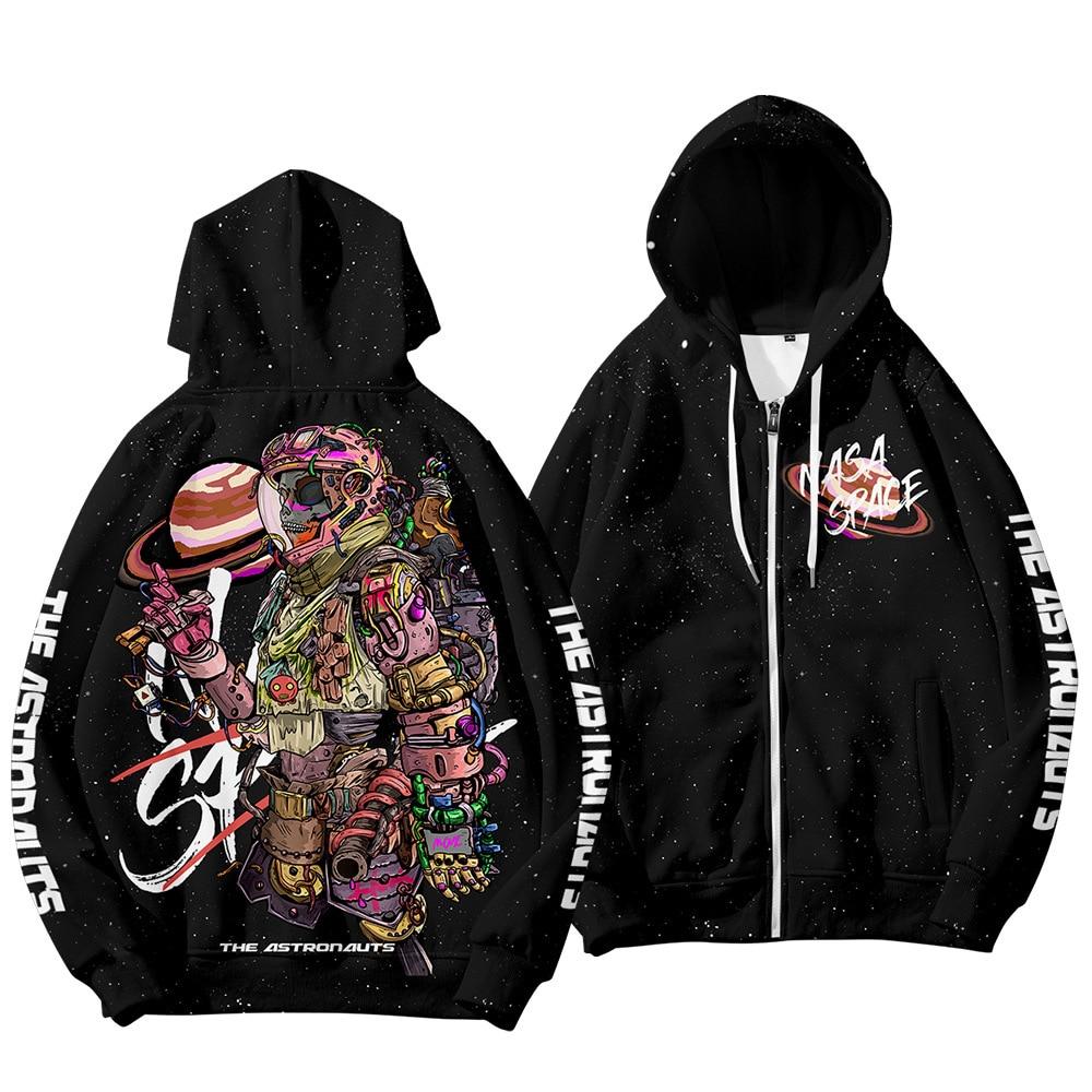 Zipper Warm Hoodies Men Autumn Winter Casual Black Astronaut Print Hoody Sweatshirts Hip Hop Streetwear Male Pullover Coats