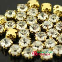 3/4/5/6/7/8mm klar Nähen auf facettierten kristall glas tasse Strass diamante gold Klaue trim montees 4 löcher Edelsteine Nähen perlen pk
