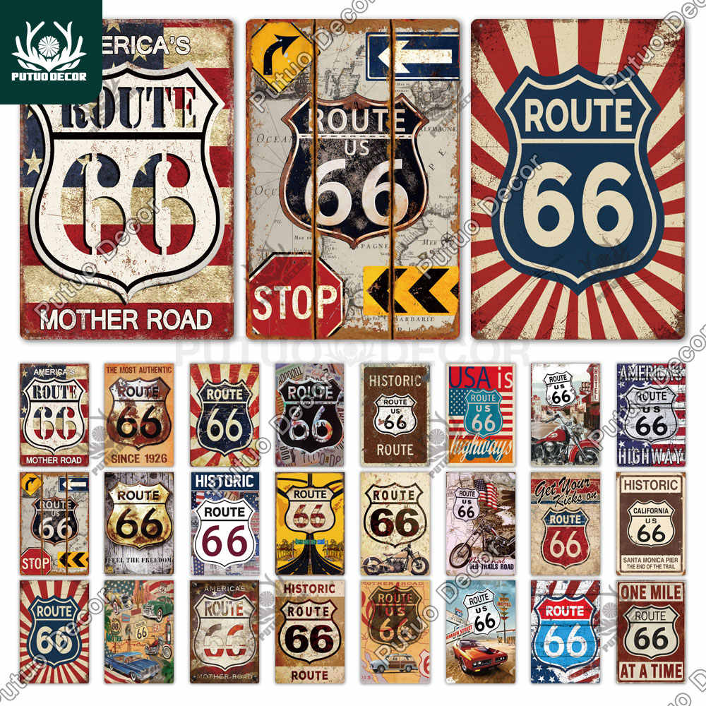 Vintage Style Historic Route 66 Highway Signs Gas Station Garage Man Cave Decor