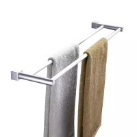 Mounted Towel Rack Storage Hardware Organizer Space Aluminum Wall Shelf Bathroom Bar Screws