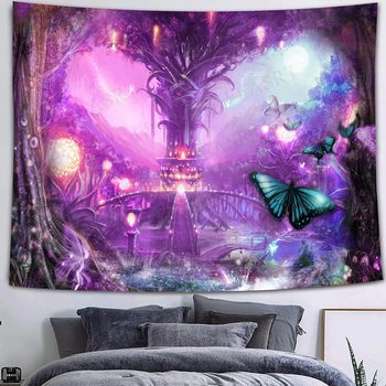 Simsant Mushroom Forest Castle Tapestry Fairytale Trippy Colorful Butterfly Wall Hanging Tapestry for Home Dorm Fantasy Decor 32