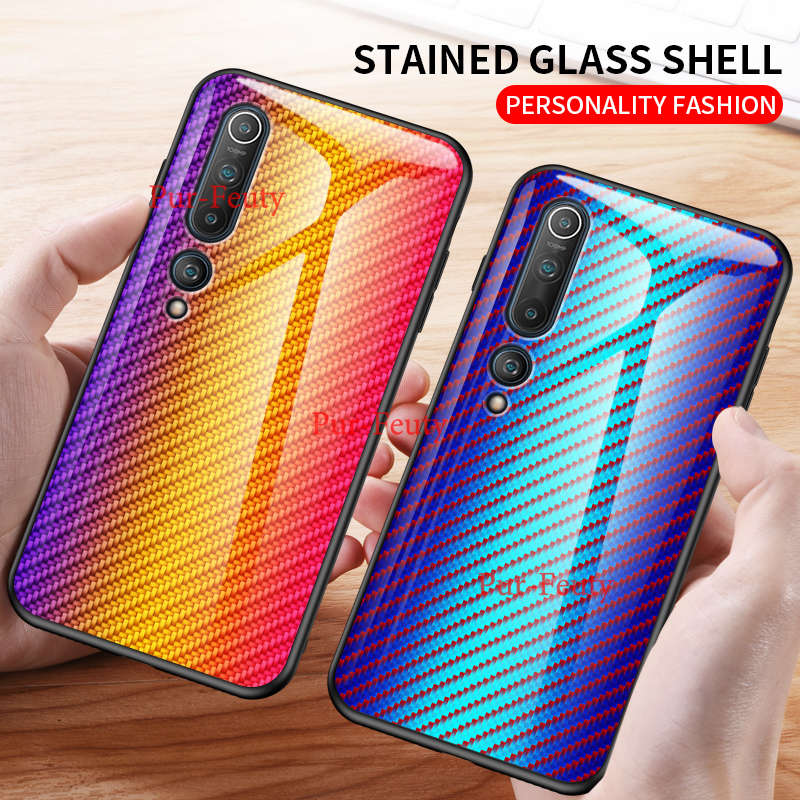 For Xiaomi Mi 10 10 Pro 5G Fashion Gradient Tempered Glass Phone Case For Xiaomi Mi 10 Pro 5G Carbon Fiber Texture Back Cover
