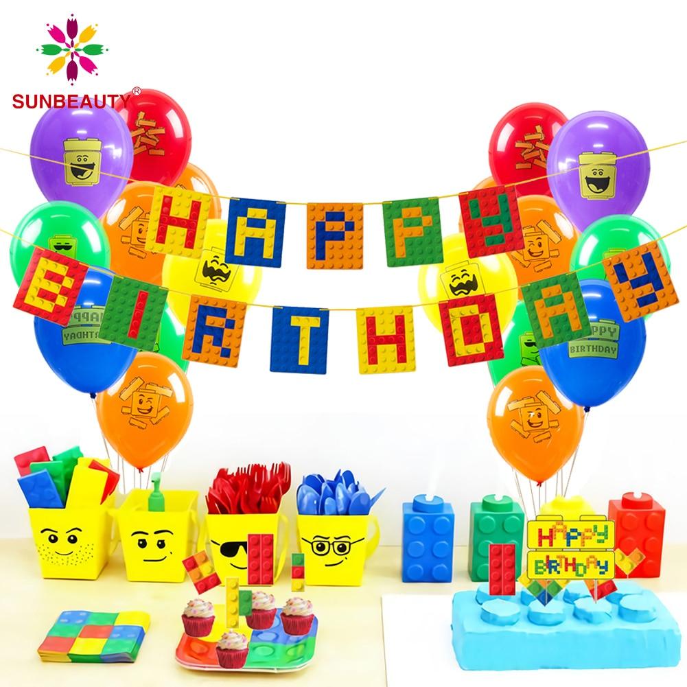 Строительный кирпич, тема, день рождения, баннеры, гирлянда, строительные блоки, вечерние украшения, товары для маленьких мальчиков, первый ...