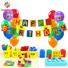 Blocos de construção de decoração, blocos de construção, aniversário, bandeira, bebê, menino, crianças, primeiro aniversário