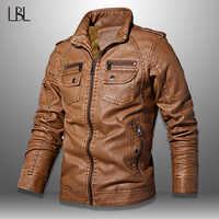 Jaqueta de couro do plutônio dos homens do inverno sólido casacos de pele forro outwear jaqueta de motocicleta masculina