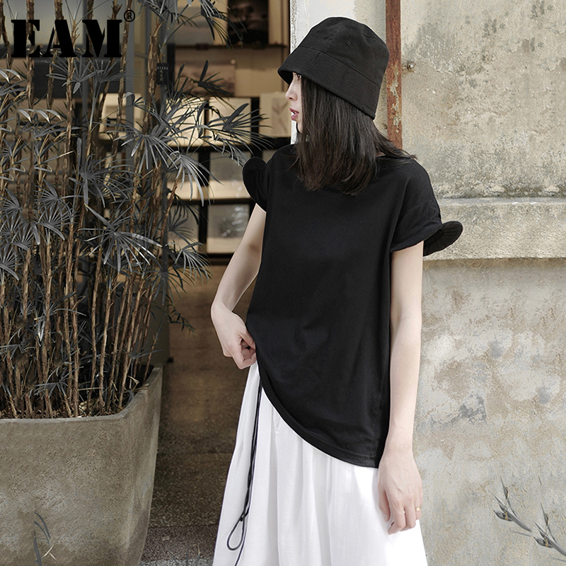 [EAM] Women Black Shaped Cuff Big Size Leisure T-shirt New Round Neck Short Sleeve  Fashion Tide  Spring Summer 2020 1W537 1