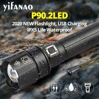 가장 강력한 XHP90.2 led 손전등 USB 충전식 줌 토치 사용 18650 26650 배터리 최고의 캠핑 라이트 XHP50 LED 플래시