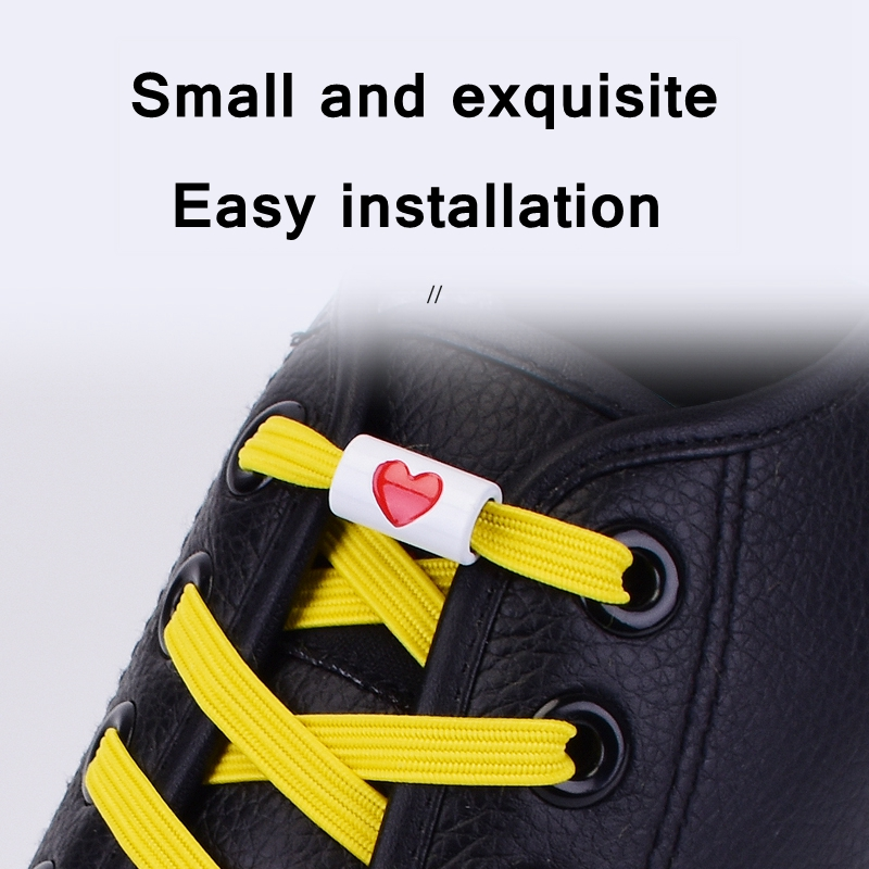 1Pair Elastic Flats Shoelaces No Tie Shoelaces Metal Love Buckle Shoelace Kids Adult Unisex Shoelace Sneakers Shoe Laces Strings