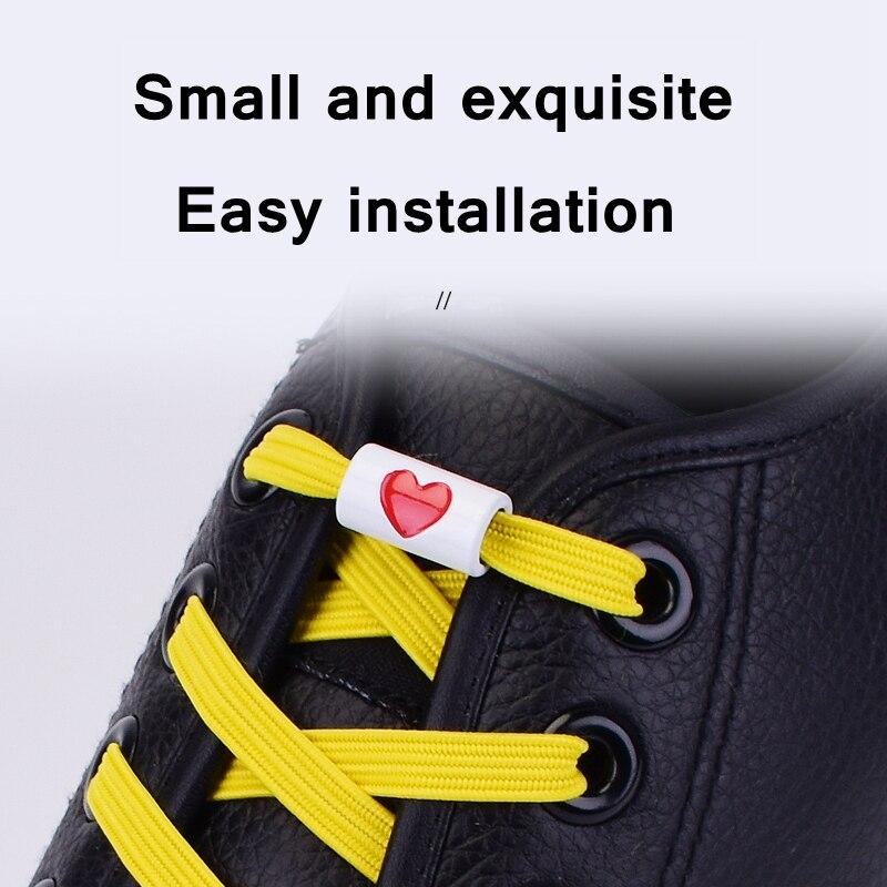 1Pair Elastic Flats Shoelaces No Tie Shoelaces Metal Love Buckle Shoelace Kids Adult Unisex Shoelace Sneakers Shoe Laces Strings