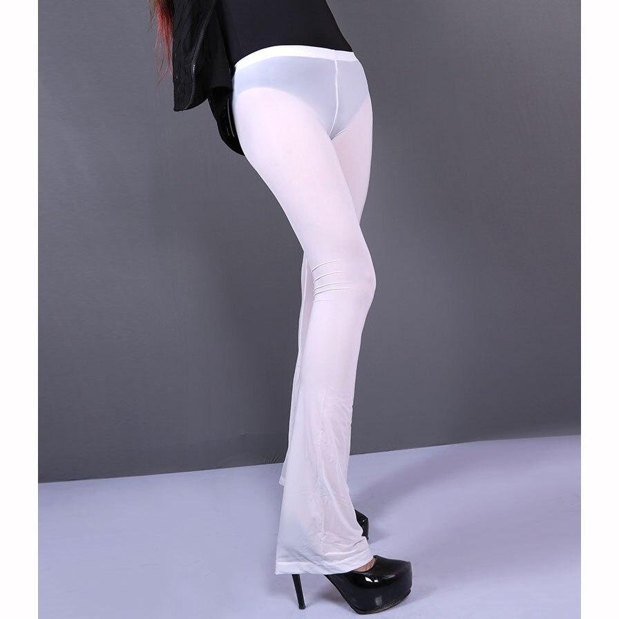 XL Plus Size Ice Silk Transparent Hot Exotic Flare Pants Pole Dance Clubwear Fitness Legging Sexy Black Leggings Women Trousers