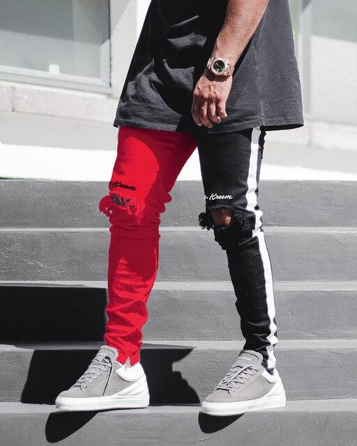 BDLJ 2019 Men Stylish Ripped Jeans Pants Biker Skinny Slim Straight Frayed Denim Trousers New Fashion Skinny Jeans Men Clothes 98