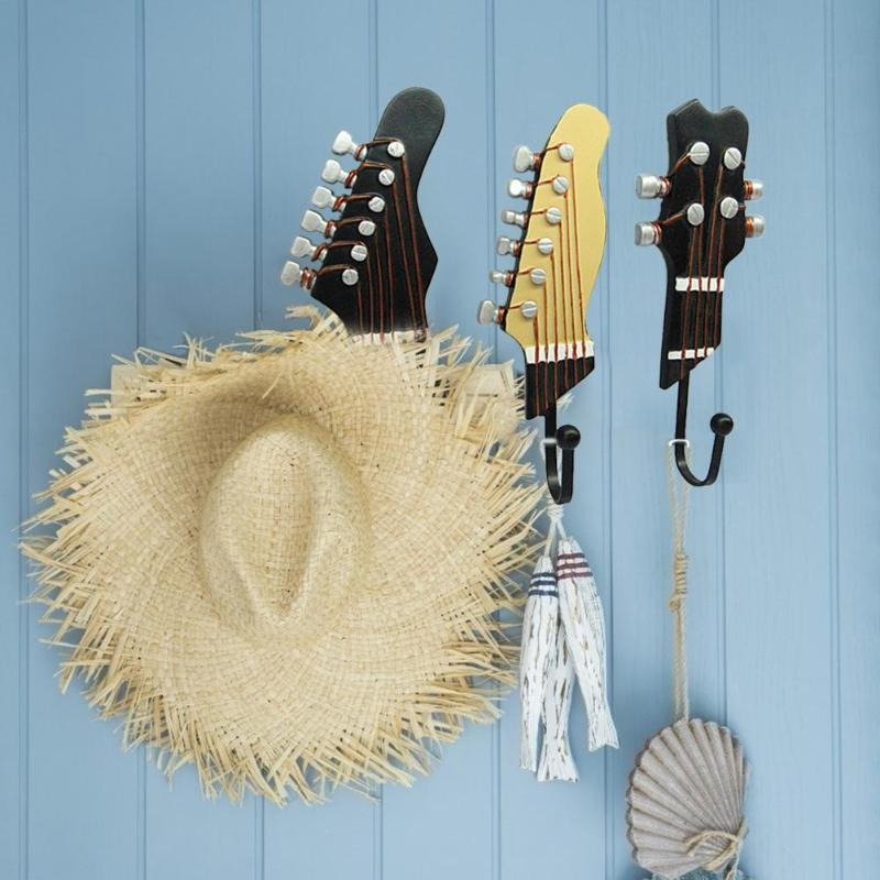 3pcs Home Hook Kitchen Multi-Purpose Hooks Guitar Head Shape Hooks Resin Wall Mounted Clothes Hat Sundries Hanger Organization