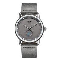 ONOLA Брендовые мужские наручные часы кожаные водонепроницаемые простые мужские серые часы модные мужские часы