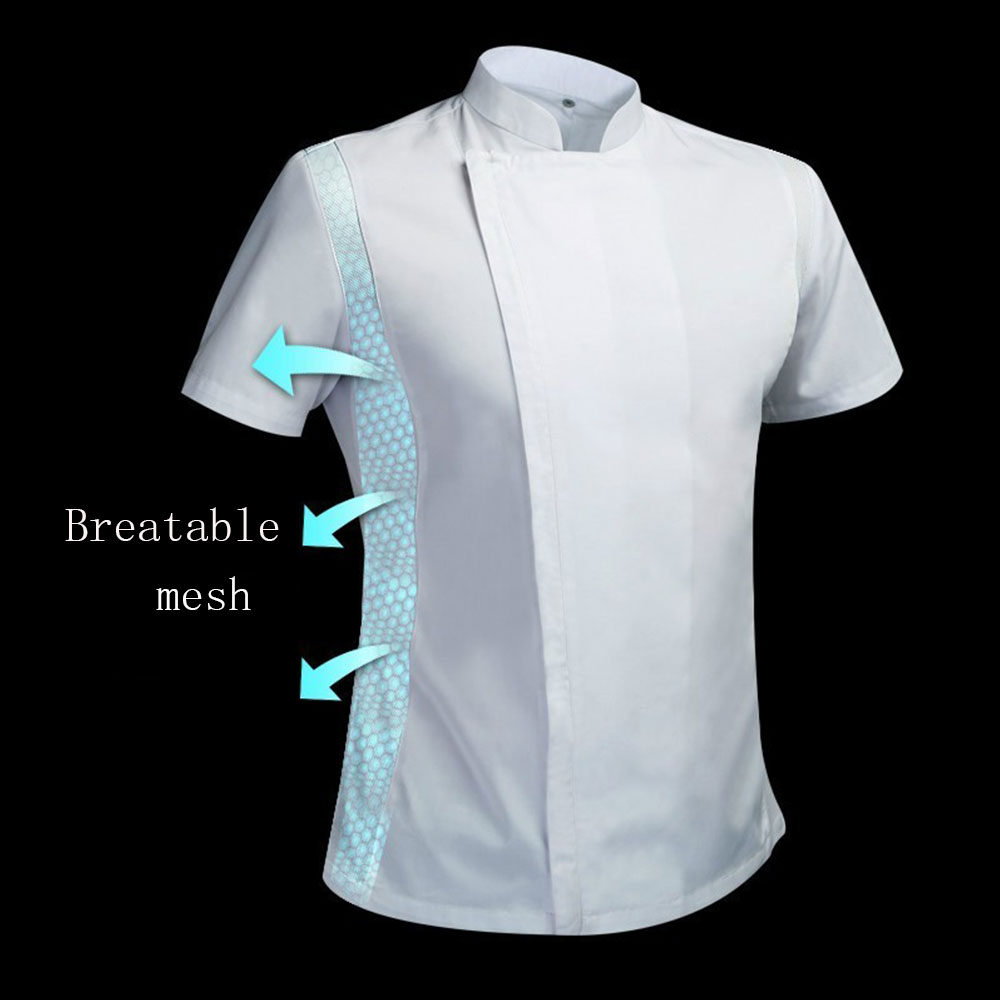 High Quality Summer Men's White And Black Chef Jackets Short Sleeve Kitchen Catering Restaurant Food Serive Work Uniform