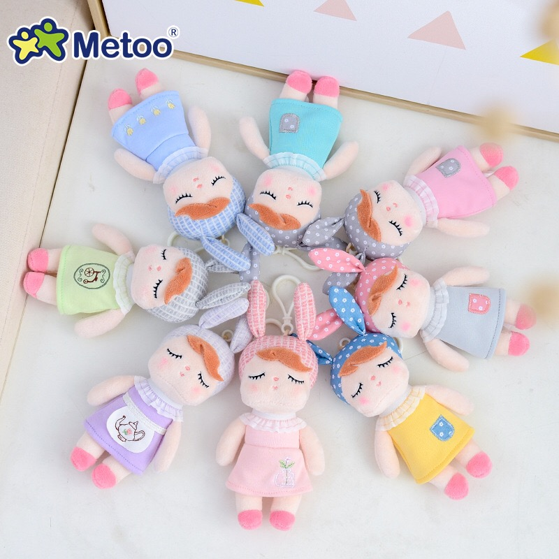 4pcs Metoo Curly Angel Plush Stuffed Sweet Rabbit Cute Animals For Kids Toys Angela Doll For Girls Birthday Christmas Gift Dress