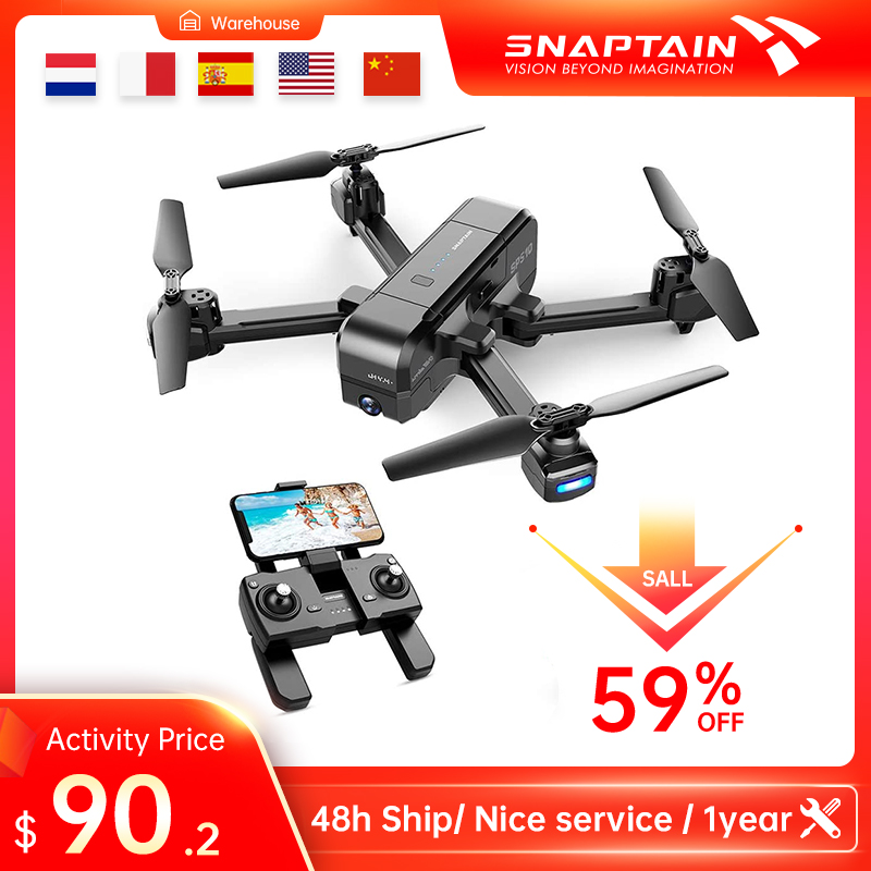 SNAPTAIN Quadcopter Foldable GPS FPV Drone with 2 7K Camera HD Live Video RC GPS Auto Return Drones for Beginners  Adults