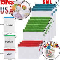12/15 stücke Einkaufstasche Reusable Produce Mesh Taschen Seil Gemüse Obst Spielzeug Lagerung Pouch 3 Größen