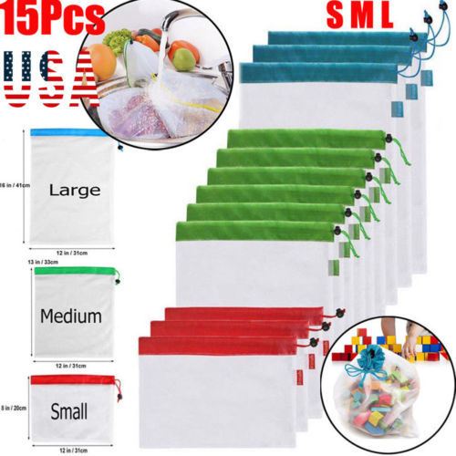 12/15pcs Shopping Bag Reusable Produce Mesh Bags Rope Vegetable Fruit Toy Storage Pouch 3 Sizes