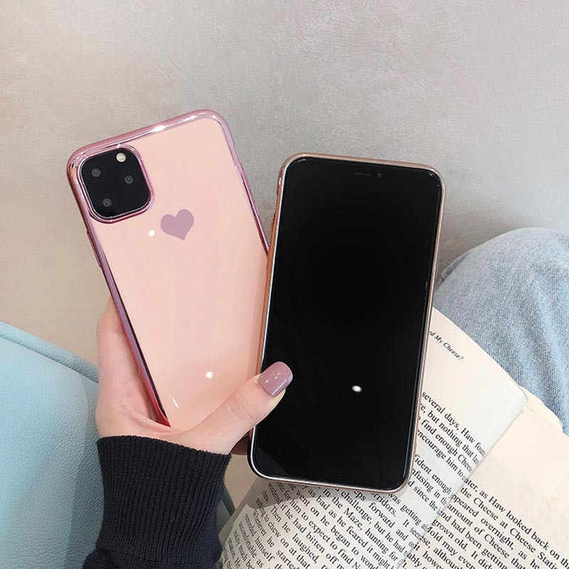 Moskado หรูหรา Electroplated Love Heart Case สำหรับ IPhone 11 PRO MAX X XS MAX XR นุ่ม TPU ซิลิโคนกรณีสำหรับ IPhone 7 8 PLUS